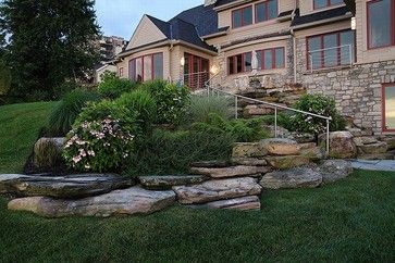 Hillside Planting Natural Stone Boulder Outcropping Traditional Landscape Cleveland By Traditional Landscape Home Landscaping Landscaping Inspiration