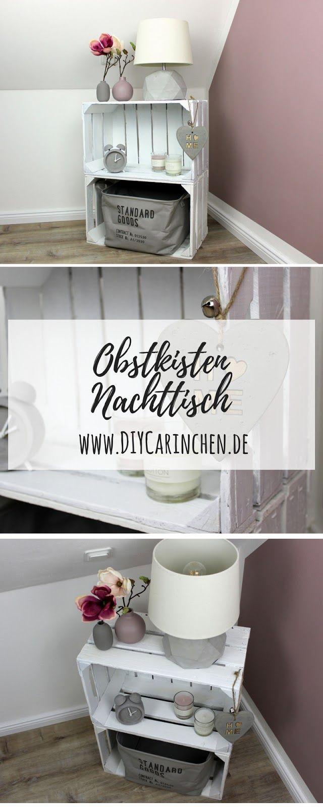 DIY Möbel selber bauen: Nachttisch / Nachtschrank aus Obstkisten ganz easy selber machen! - DIY Ideen #palettendeko