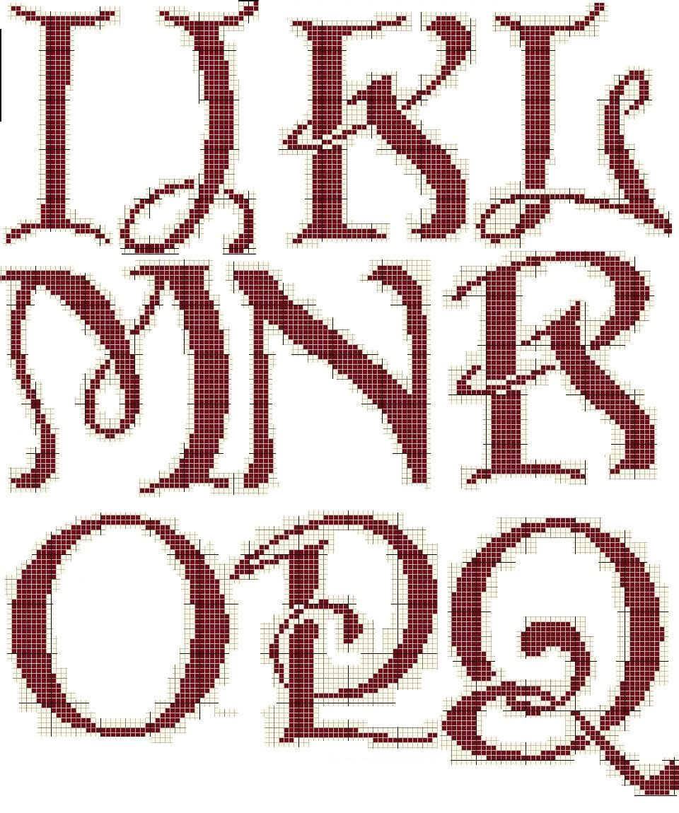 Schematic cross stitch Ijlkmnopqr