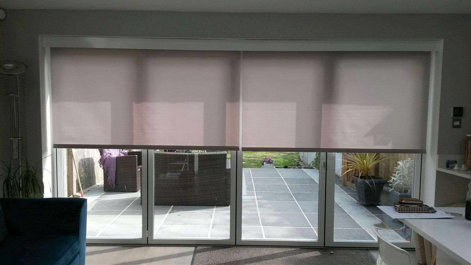Electric Blinds Covering Your Bifold Doors Will Reduce Unwanted Heat Glare And Uv By Deans Blinds Awnings
