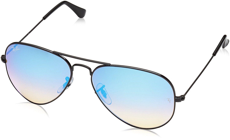 1e6bb9e167c Ray-Ban AVIATOR LARGE METAL - SHINY BLACK Frame MIRROR GRADIENT BLUE Lenses  58mm Non-Polarized