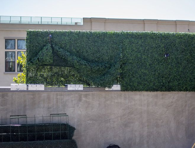 providing privacy for a rooftop wedding in la part 3 on interior using artificial boxwood panels with flowers id=82549