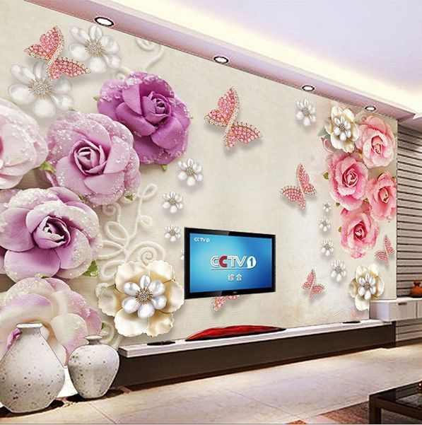 Custom 3d Diamond Butterflies And Flowers Jewelry Wallpaper Custom Photo Wallpaper Bedroom Wallpaper Neutral Wall Painting