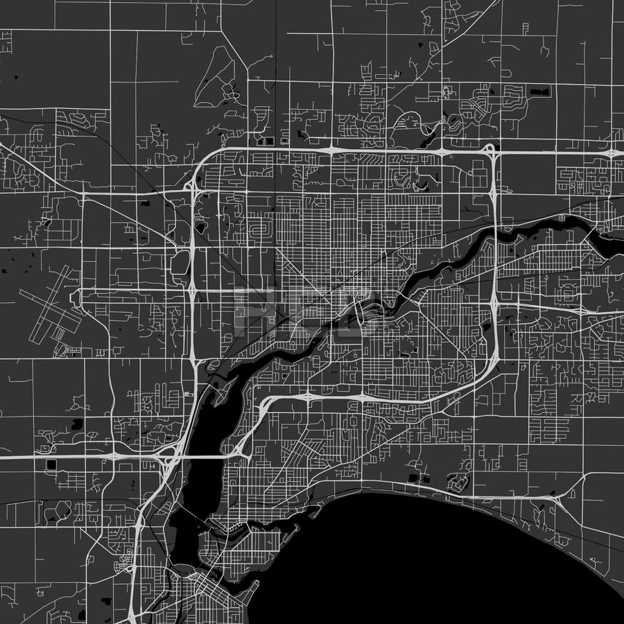 Appleton downtown and surroundings Map in dark