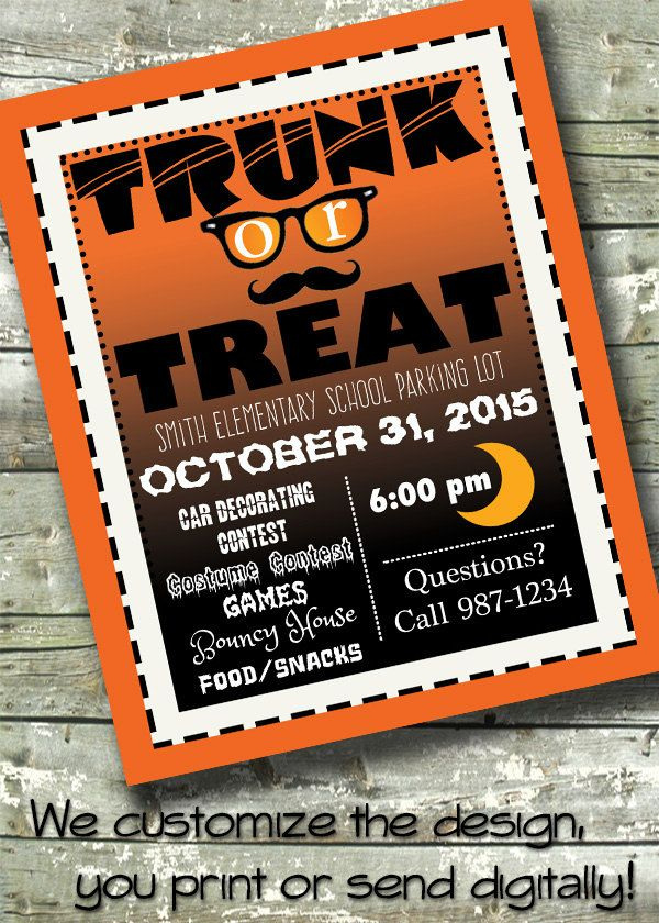 Trunk Or Treat  Halloween Party  X Invite  X Flyer