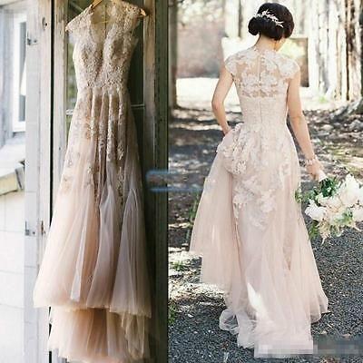 Vintage Blush Tulle Wedding Dresses 2016 Cap Sleeve Appliques Lace ...