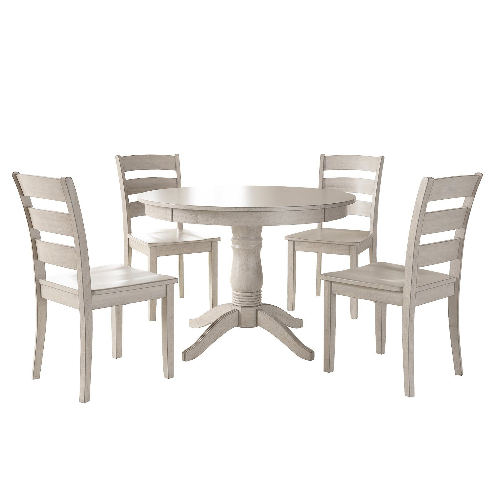 Weston Home Lexington 5 Piece Round Dining Table Set With Ladder Back Chairs Antique White Round Dining Table Sets
