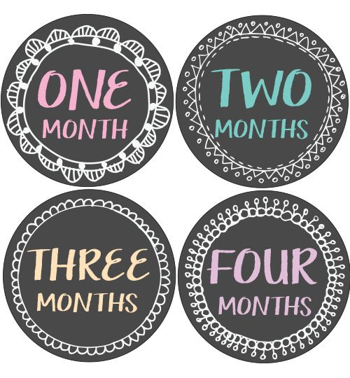 Chalkboard Frame Baby Month Stickers | Monthly Baby Stickers ...