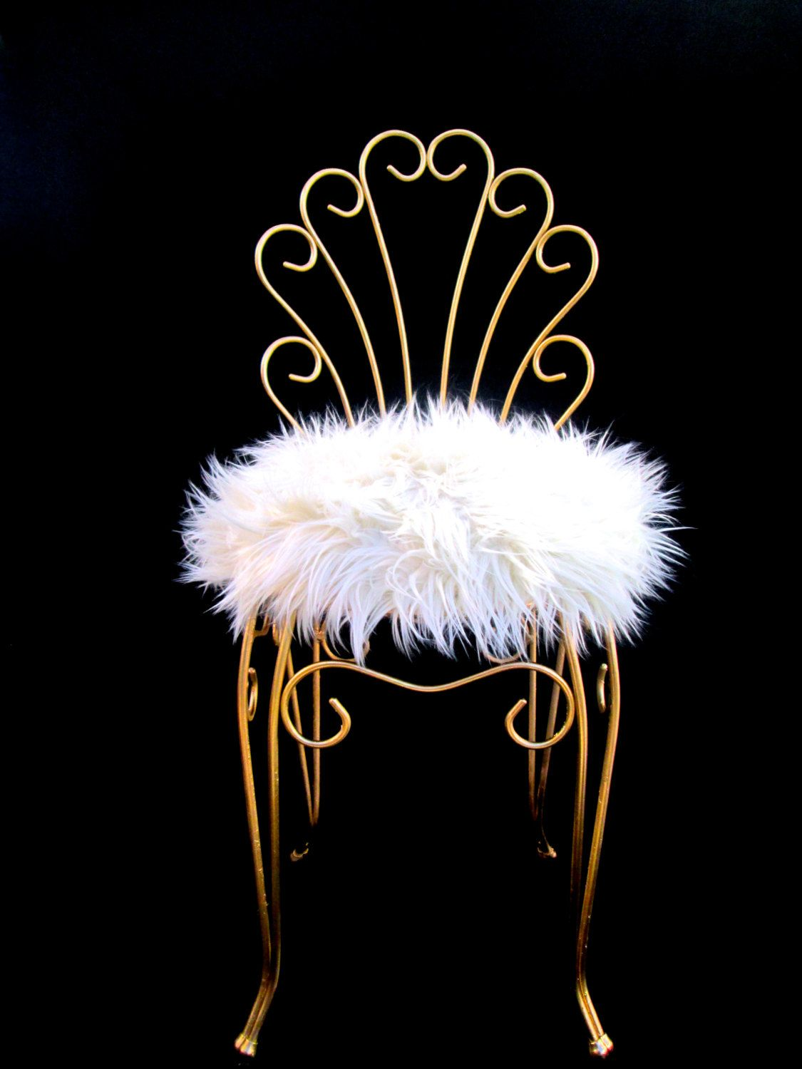 Vintage Hollywood Regency Gold Metal & Faux Fur Vanity Stool ...