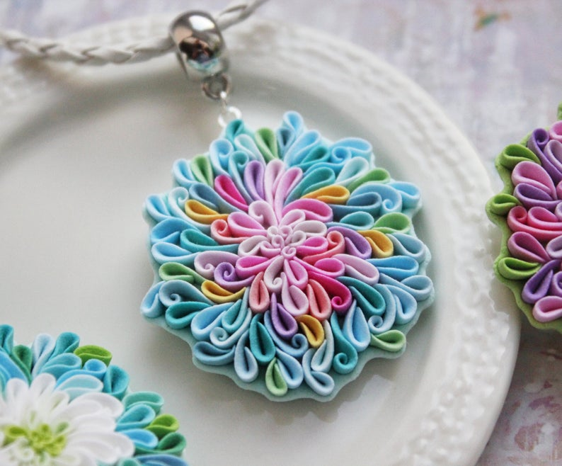 Fantasy Flower Turquoise Aster Necklace Flower Girl Gift Etsy In 2020 Flower Girl Gifts Polymer Clay Flowers Floral Necklace