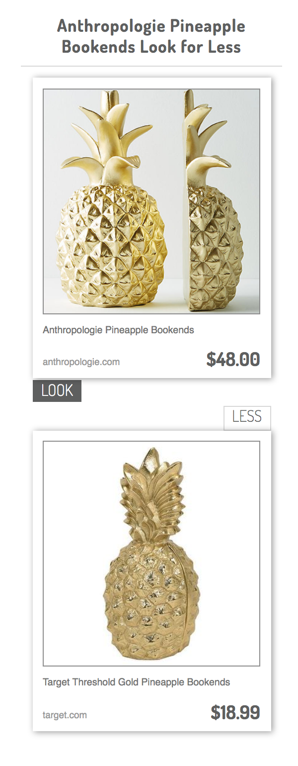 Anthropologie Pineapple Bookends Vs Target Threshold Gold