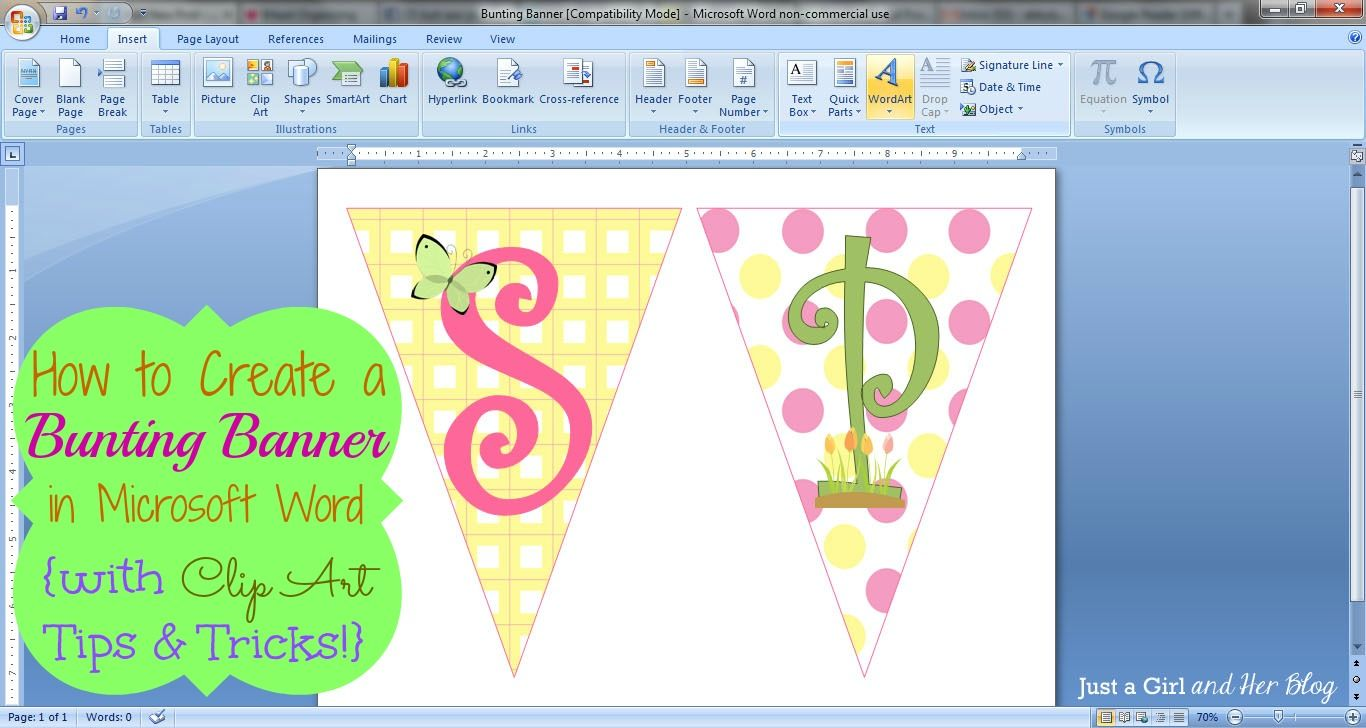 how to make a bunting banner in word with clip art tips and tricks just a girl and her blog [ 1366 x 728 Pixel ]