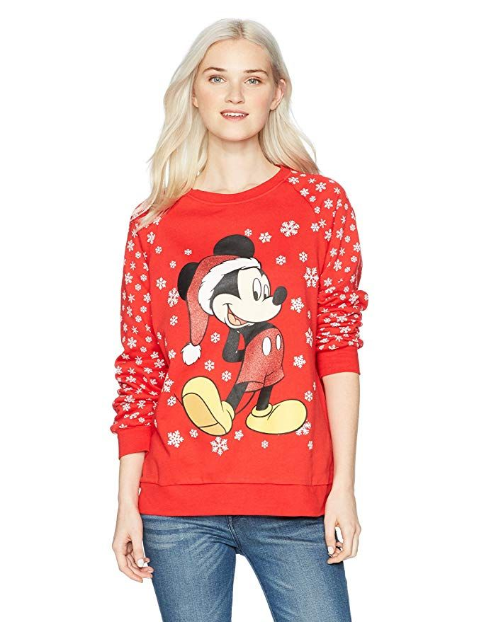 Disney Women\u0027s Mickey Glitter Christmas Sweater, Red, S disney in