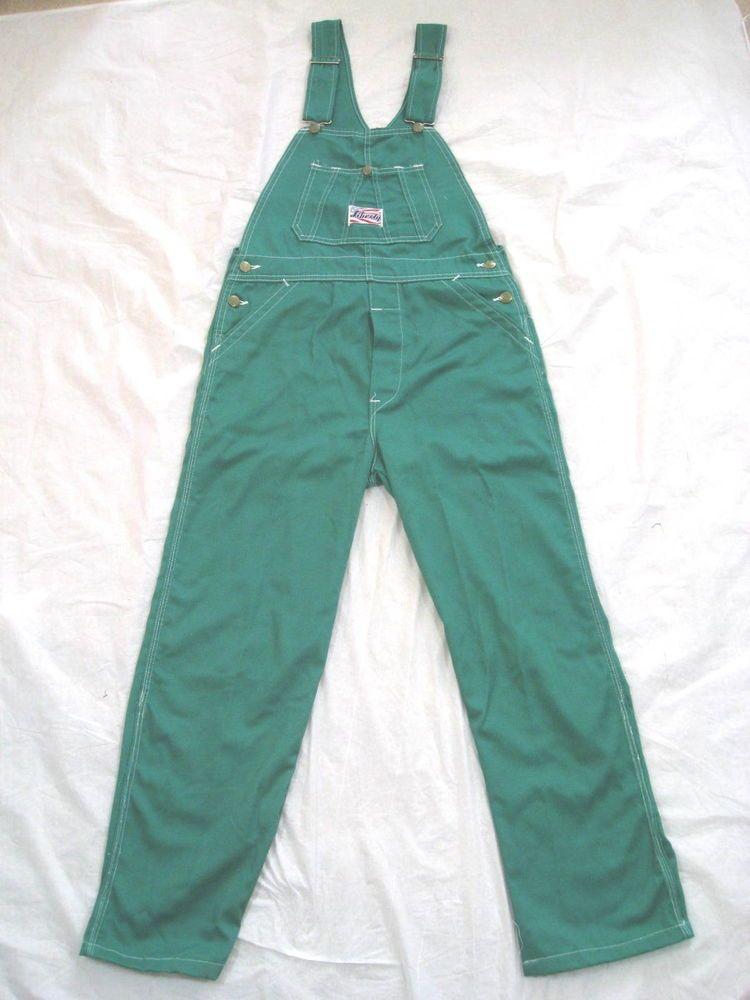 Liberty Mens Green Bib Overalls Pants Size 32 X 28