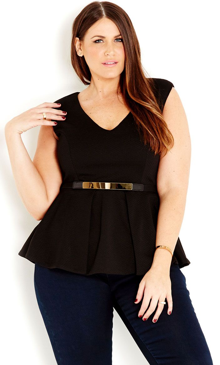 4a4893f9242 City Chic - METAL BELT PEPLUM TOP - Women s Plus Size Fashion  citychic   citychiconline  newarrivals  plussize