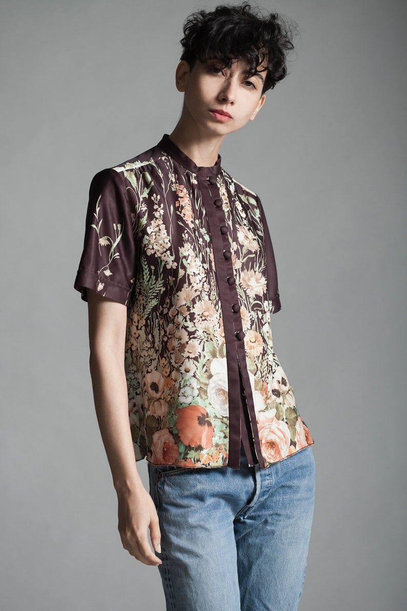 brown watercolor print floral blouse top short sleeves polyester knit vintage 70s SMALL S