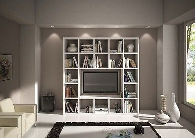 Componibili soggiorno ~ Libreria parete moderno soggiorno porta tv legno bianco frassinato