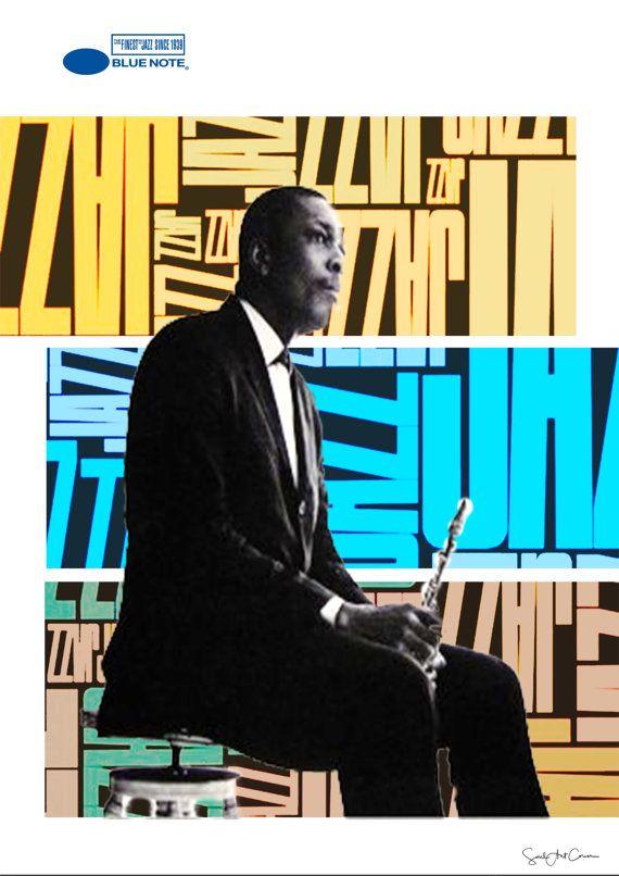John Coltrane Mixed media collage jazz blues por SoulArtCorner