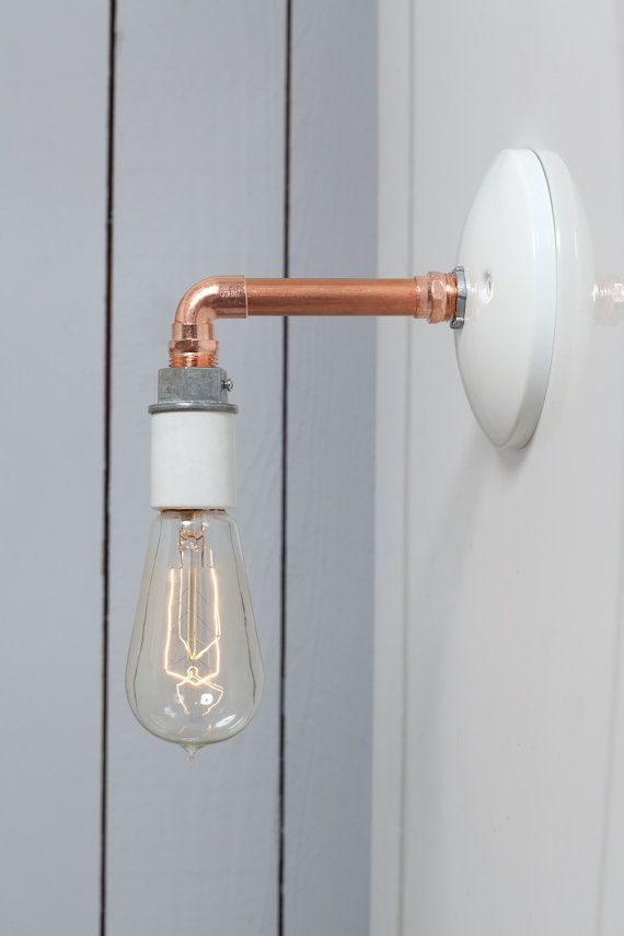 Industrial Pipe Wall Lights : Industrial Wall Sconce Copper Pipe Light Bare Bulb by IndLights bathroom Pinterest Wall ...