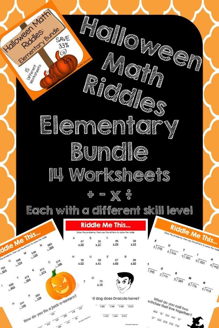 Halloween Math Riddles Elementary Bundle Halloween math