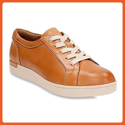 Clarks Women's Cordella Chant Beige Leather Sneaker 8 B (M) - Sneakers for  women
