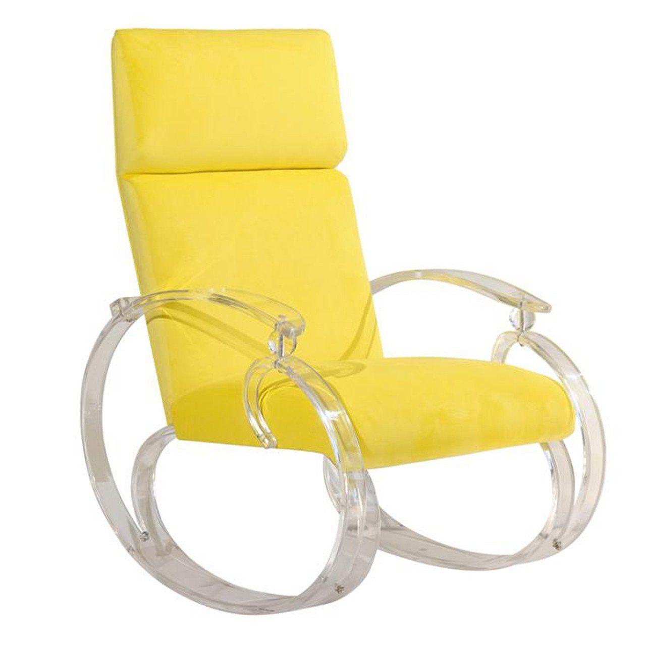 Bright yellow lucite rocker rocking chair antique