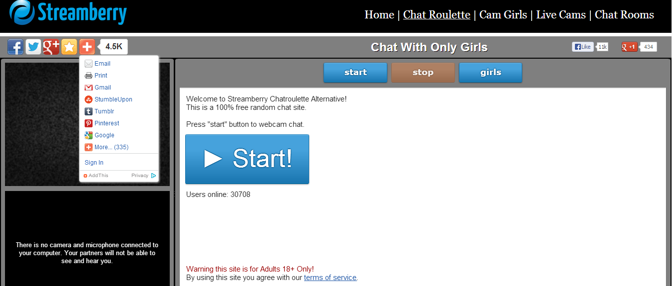 Chatroulette for adult