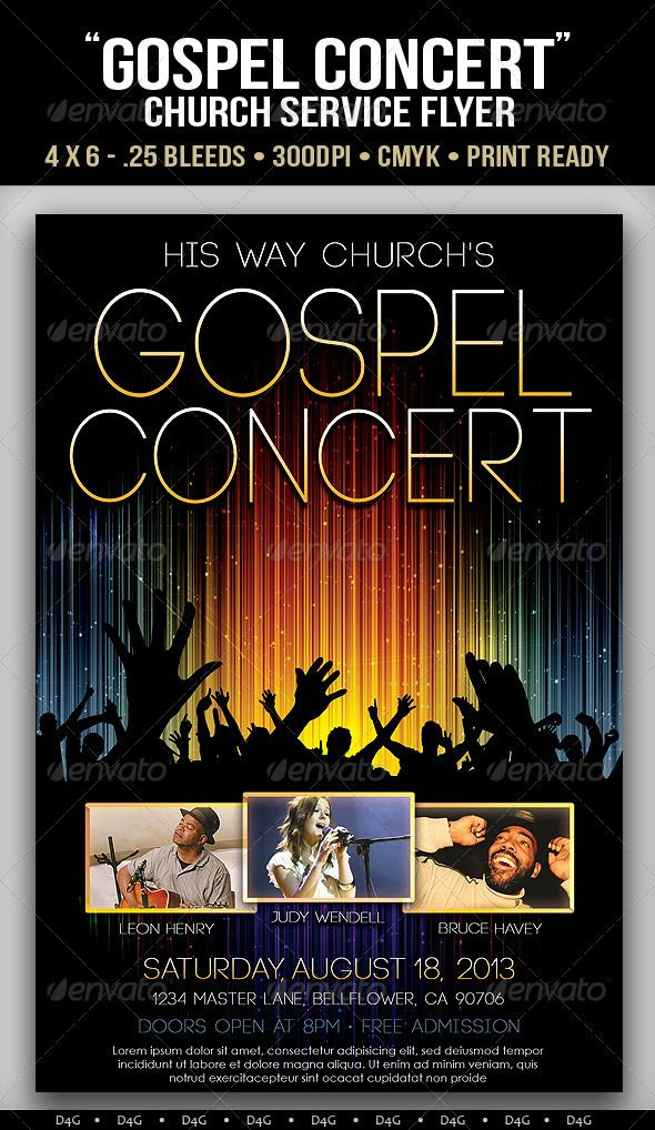Gospel Concert Lights Flyer Template Can Be Used For Concerts And Musical Events The PSD File Has Group Folders Layers Named Accordingly