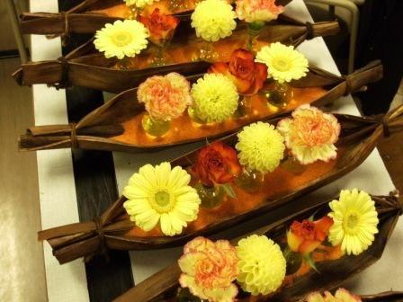 Exotique avec la feuille de bananier fleurs - Set de table feuille de palmier ...