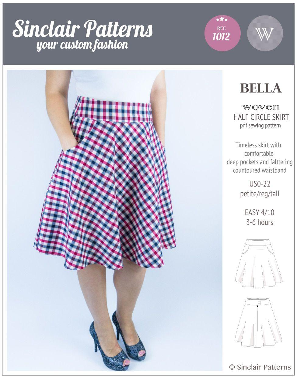 Sinclair Patterns S1012 Bella woven half circle skirt pdf sewing ...