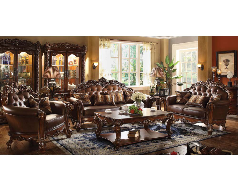Best Traditional Sofa Set Vendome Cherry By Acme Furniture 640 x 480
