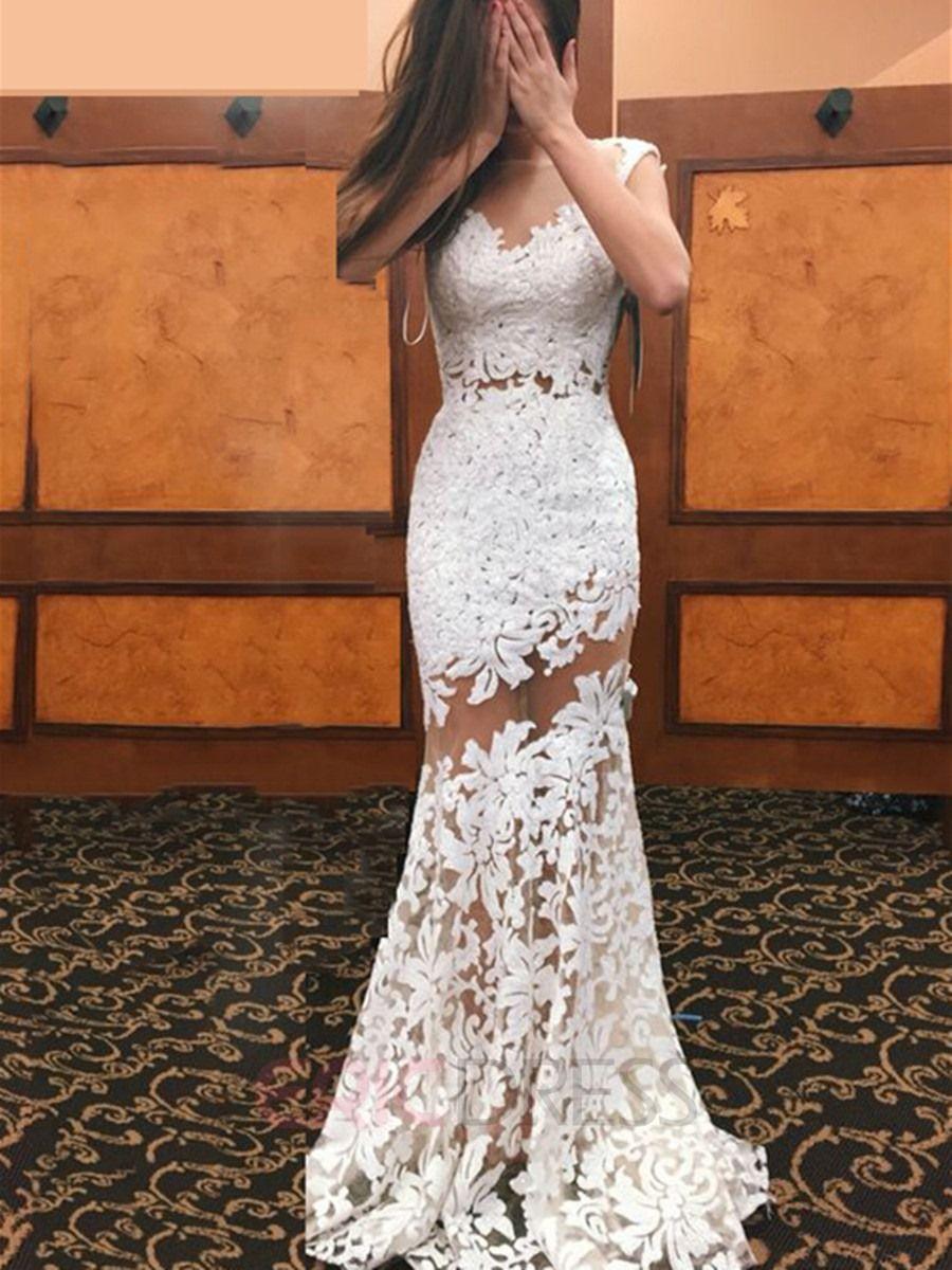 Ericdress Illusion Neckline Sheath Lace Wedding Dress White Lace Prom Dress Prom Dresses Lace See Through Prom Dress [ 1200 x 900 Pixel ]