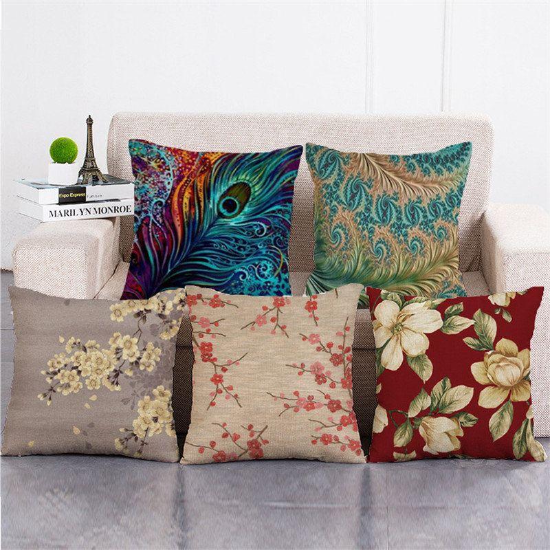 Cotton Linen Cushion Cover Square Home Decorative Peacock