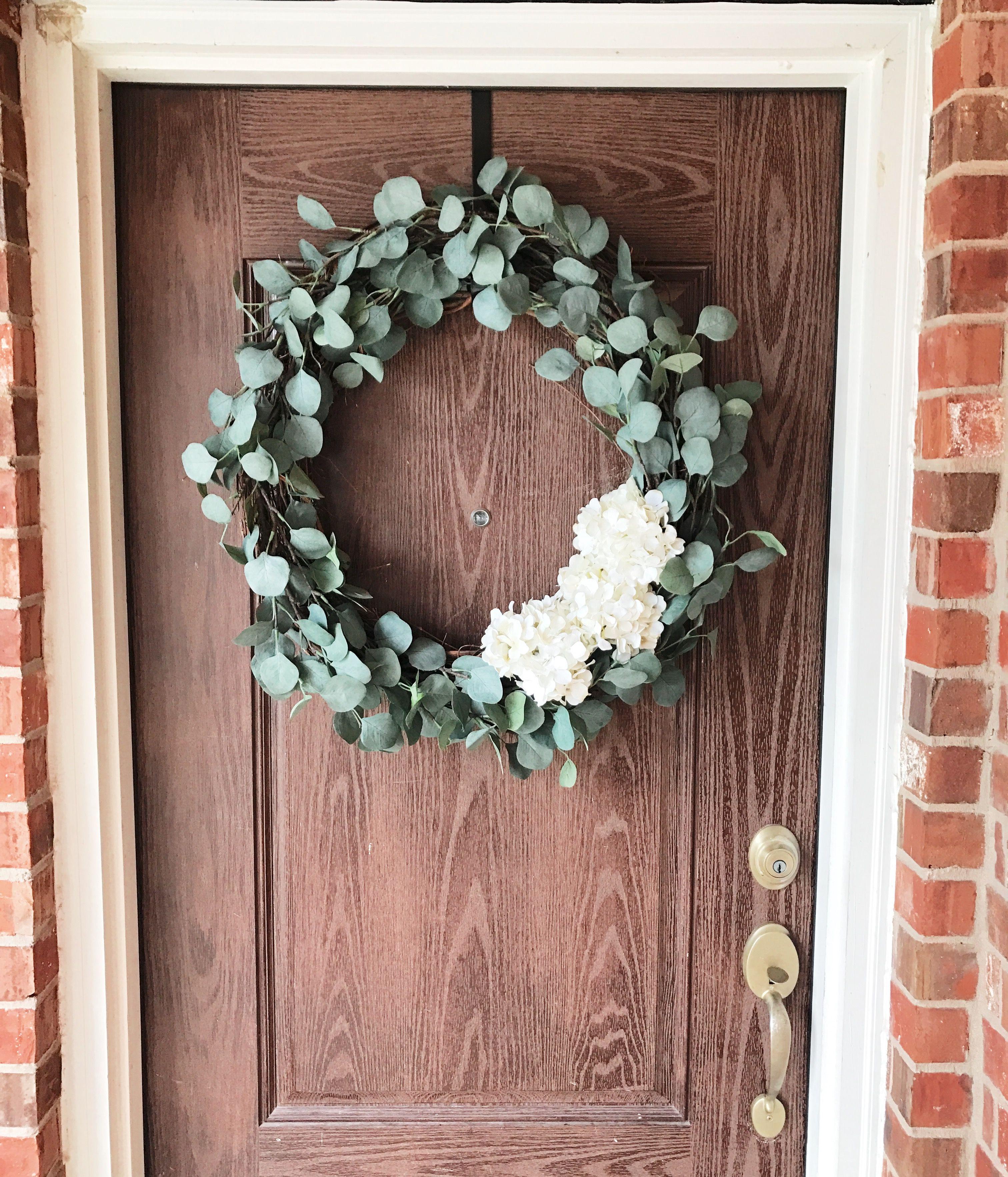 Diy Eucalyptus Wreath 24 Wreath And 3 White Hydrangeas