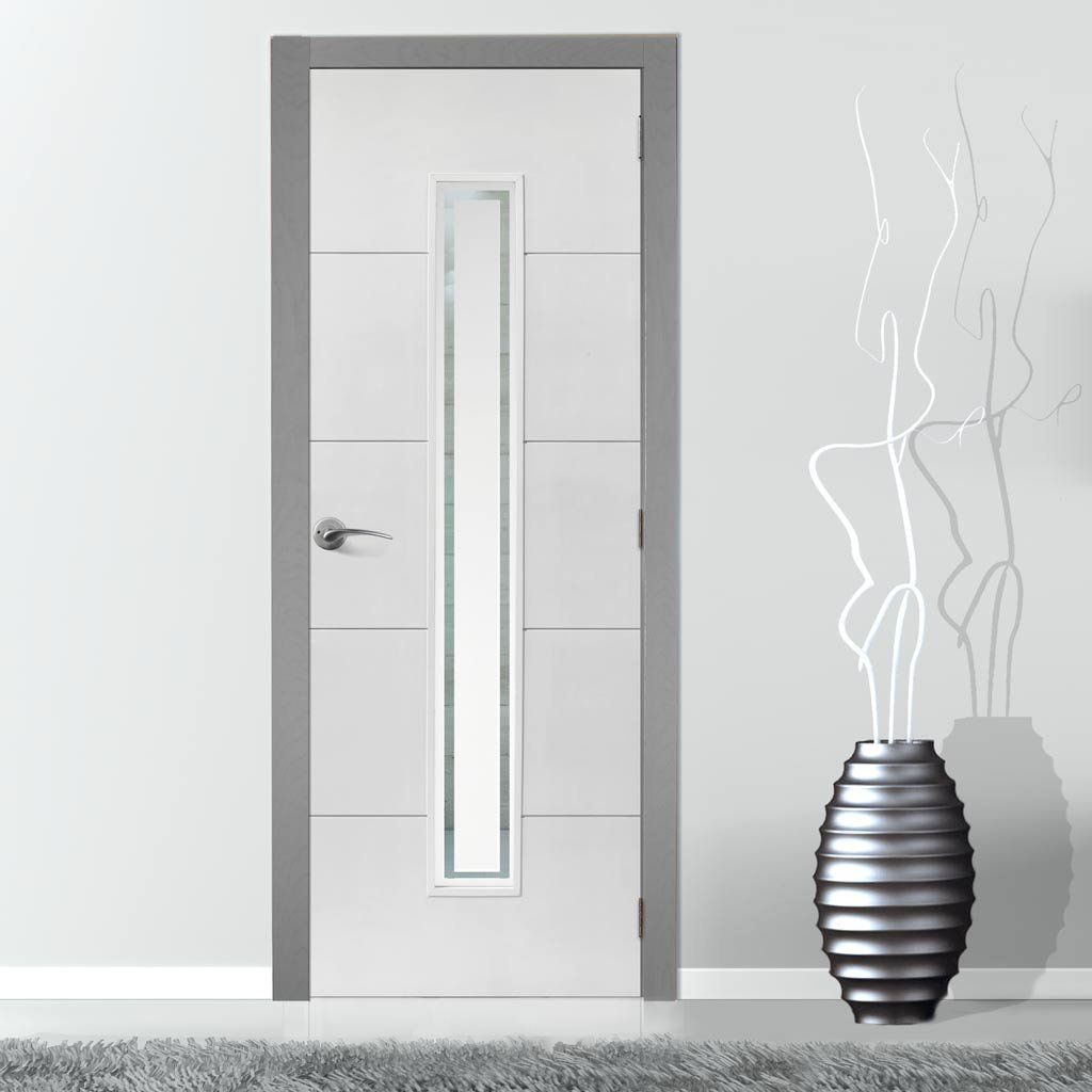 Perfect Limelight Dominion White Primed Flush Fire Door Is 1/2 Hour Fire Rated With  Pyrodur Glass