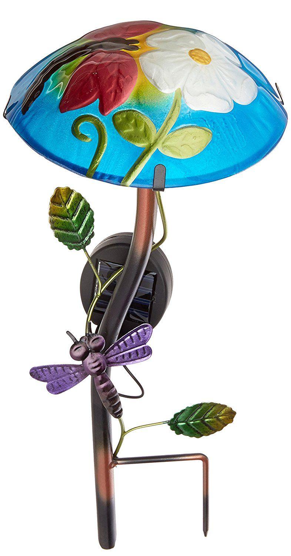 Regal Art U0026Gift Solar Mushroom Stake Dragonfly Garden Decor