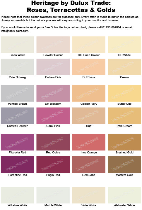 Rose Terracotta And Gold Shades From The Dulux Heritage Colour Chart