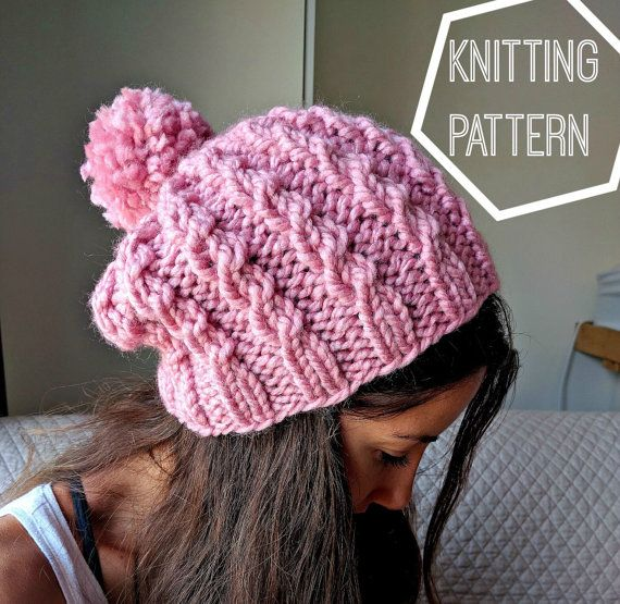 Easy Cable Knit Hat Pattern Cable Knit Beanie Pattern Simple Cable Knit Beanie Pattern Easy Knitting Pattern Knit Slouchy Beanie Pattern Hat Knitting Patterns Cable Knit Hat Pattern Easy Knit Hat