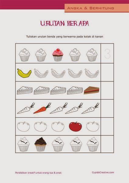 belajar hitung anak TK/balita, angka 1-10, gambar makanan ...