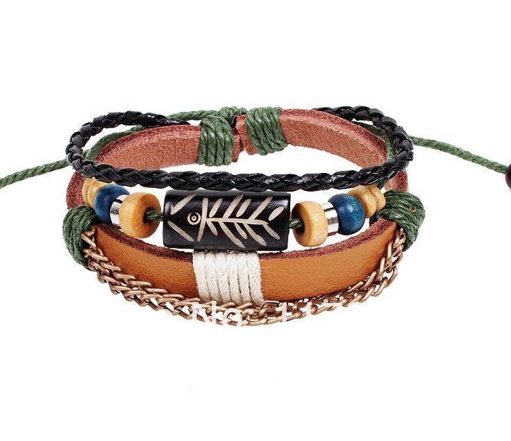 new design free shipping fish wood jewelry necklace bracelets & bangle made of leather metal wholesale S0052 US $1.60