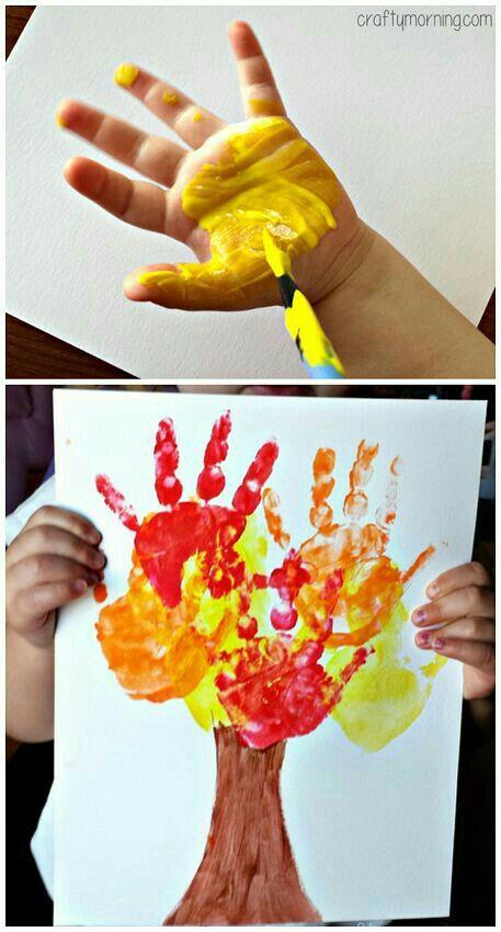 Quatang Gallery- Boom Maken Met Verf Op De Handjes Kleuterschoolknutsels Herfstwerkjes Herfst Knutselen Kinderen