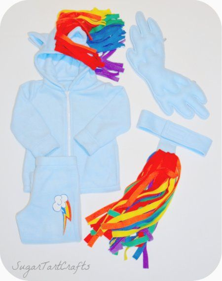 piper halloween costume parts of rainbow dash costume hoodie with ears and mane pants with cutie mark tail and wings