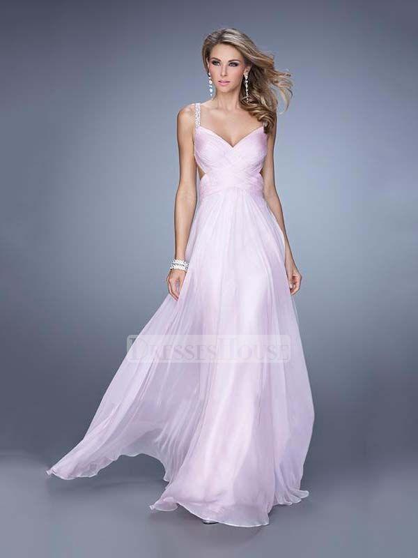 A-line Straps Sweetheart Cutout Back Chiffon Prom Dress PD12089