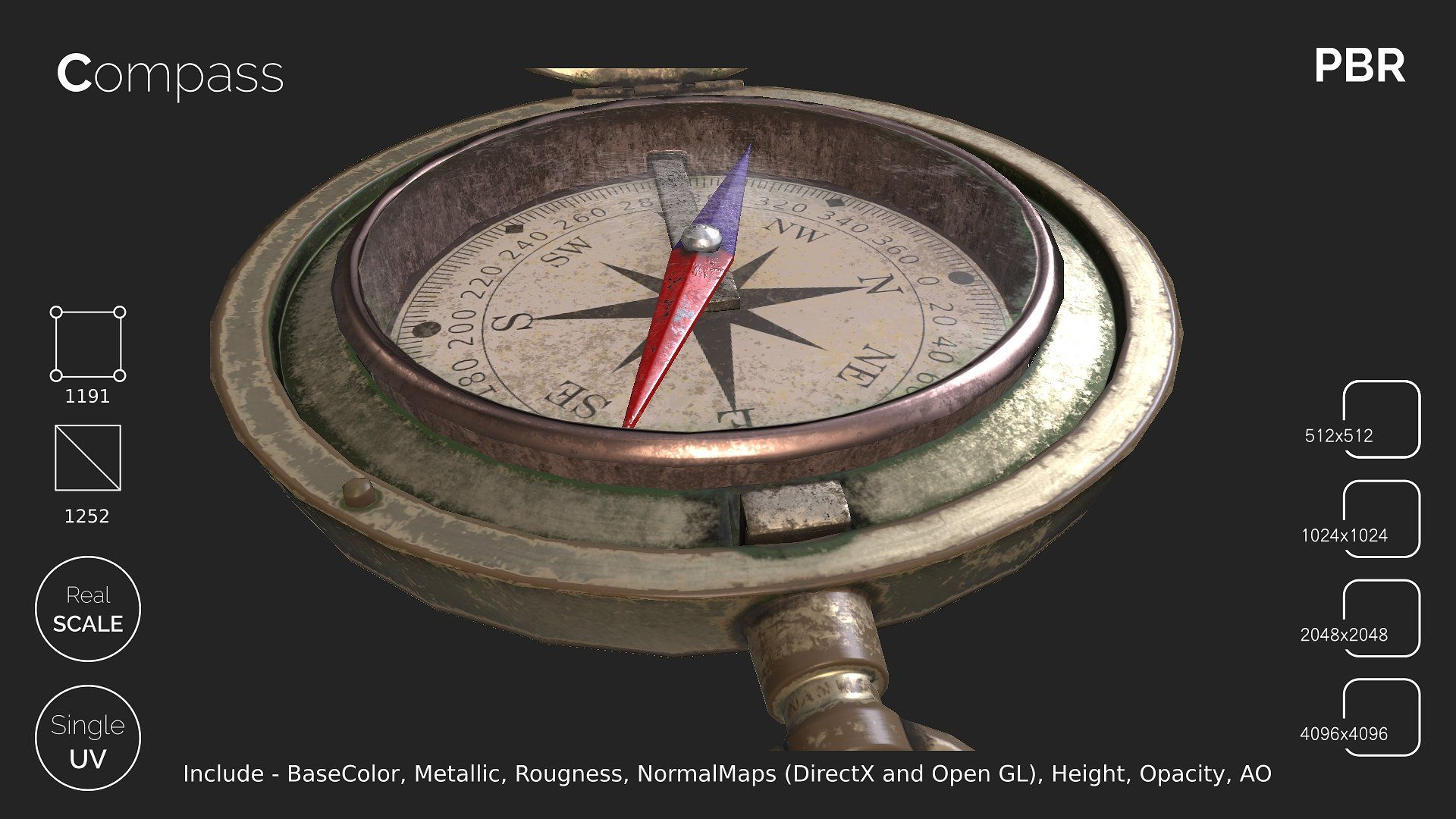 Compass Realworlduvscale Compass Low Poly Games