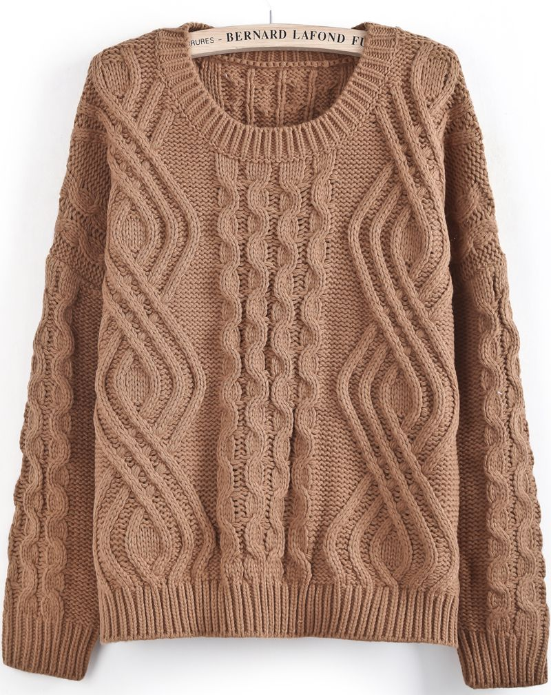 Khaki Long Sleeve Geo Pattern Cable Knit Sweater - Sheinside.com ...