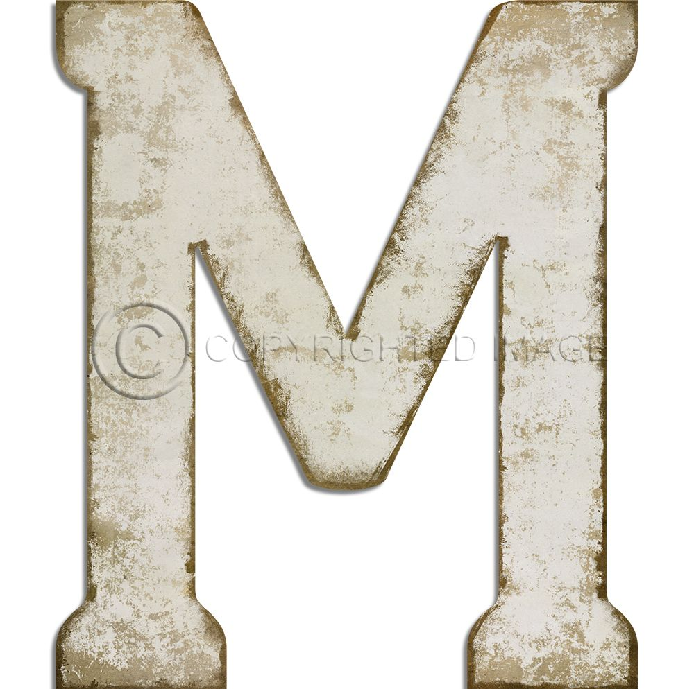 Letter M Vintage White Cutout 2 Sizes Custom Vintage Signs Dot And Bo Decorative Letters Lettering