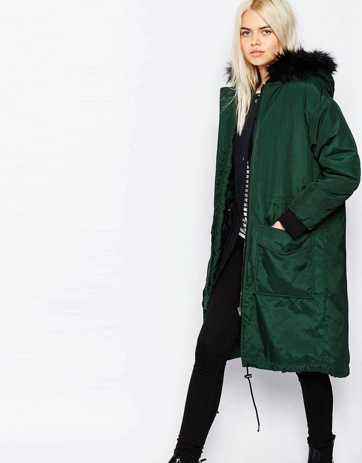 Monki Parka With Faux Fur Hood Green | Parka, Parka coat