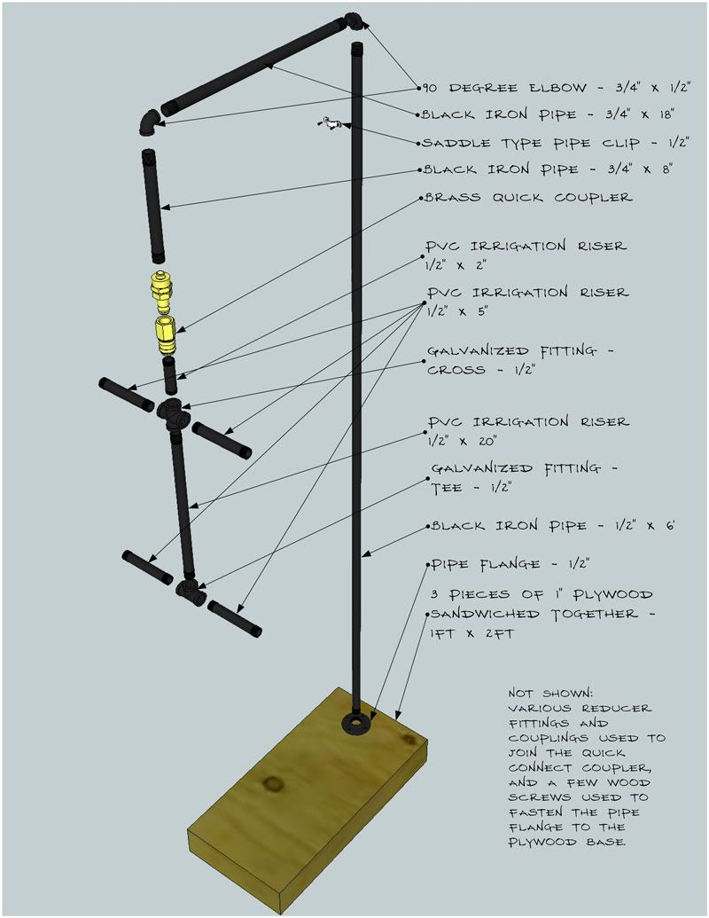 schematics for a hanging stand for a homemade tailor form | SSP ...