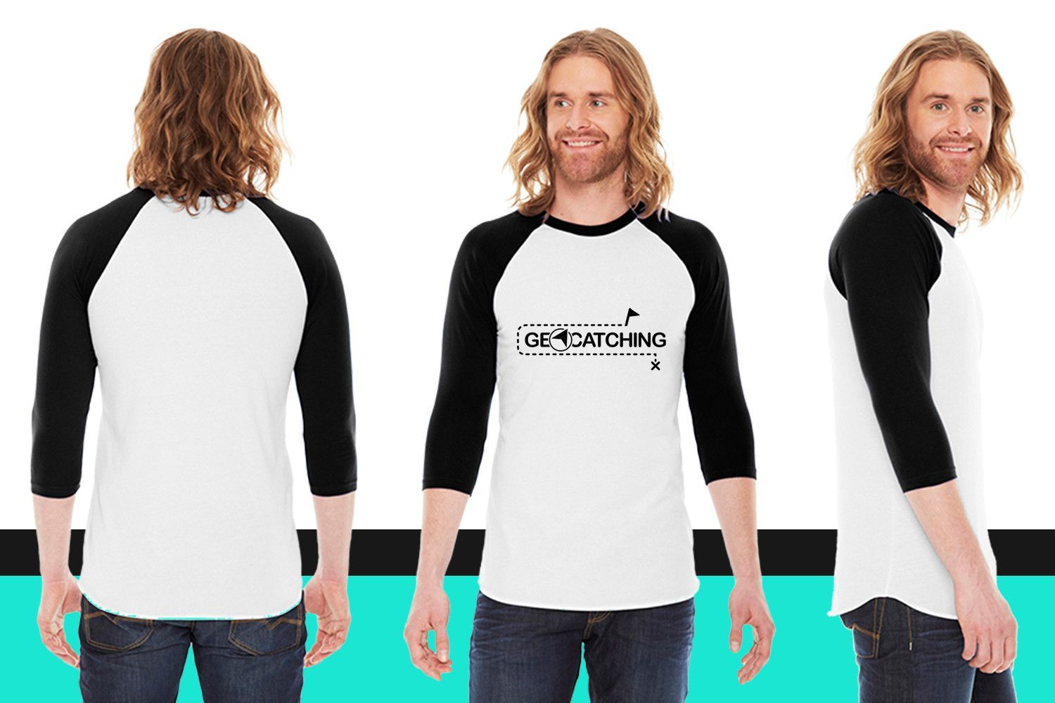 geocatching 1 f1 American Apparel Unisex 3/4 Sleeve T-Shirt
