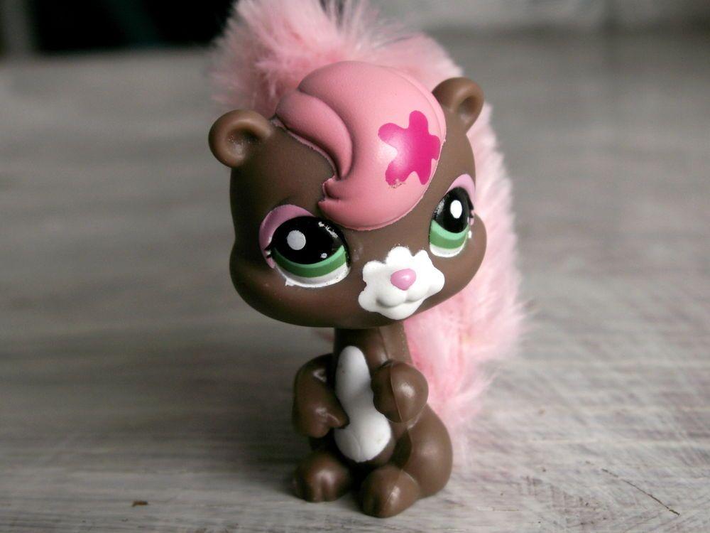 Littlest Pet Shop 2641 Squirrel Brown Pink Fuzzy Furry -7758